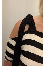 LATA Open Shoulder Striped Top