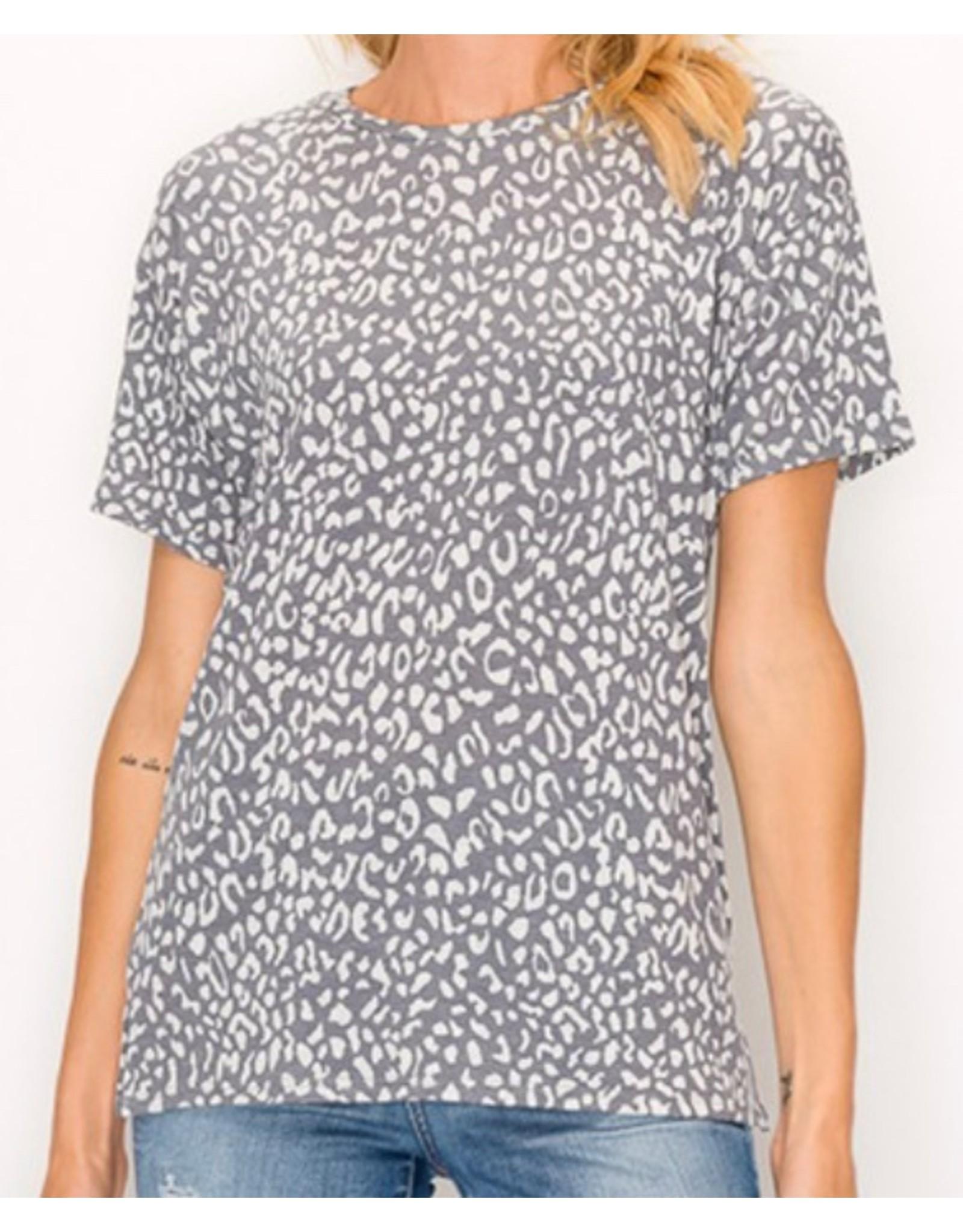 LATA Leopard Print S/S w/ Side Slit