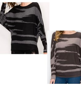 LATA Abstract Dolman Top w/ wide neck