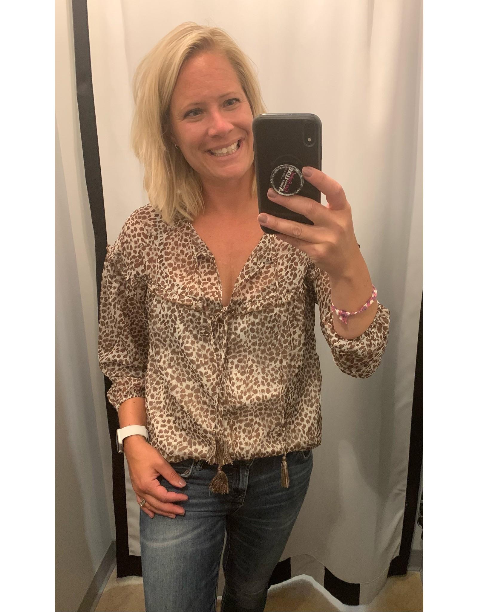 LATA Brown Leopard Tie Blouse