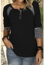 LATA Black Top w/ Striped Details