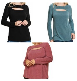 LATA French Terry Cut Out L/S Top