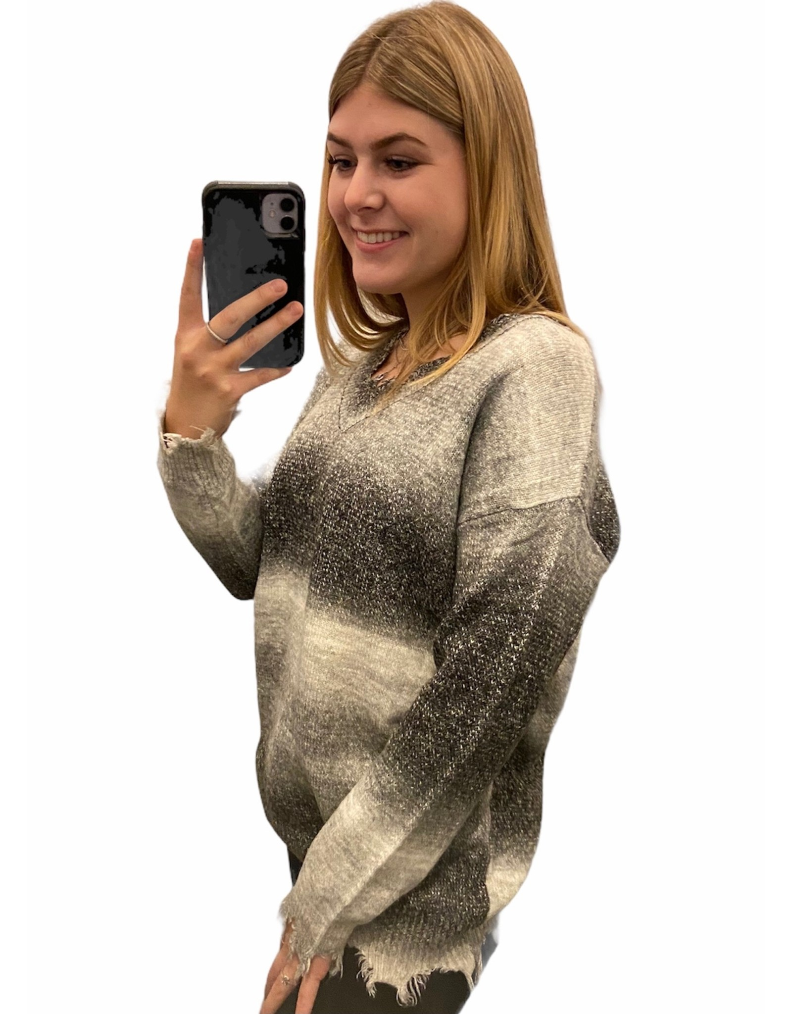 LATA Dreamin' Big Distressed V-Neck Sweater