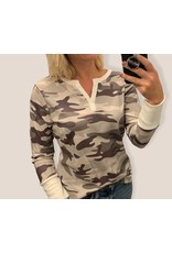 LATA Complicated Camouflage Waffle Knit Top