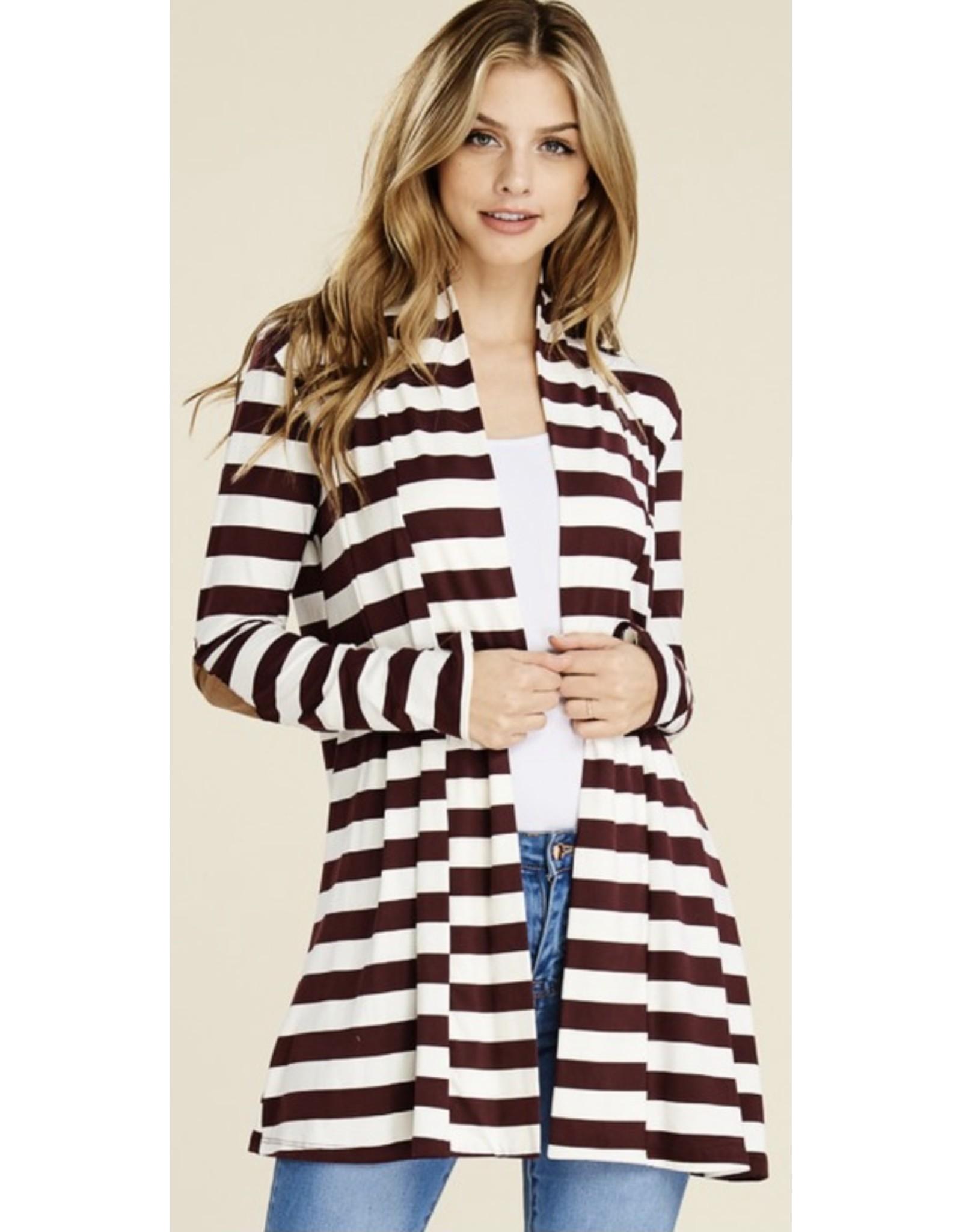 LATA Show them Striped Cardigan w/ Elbow Patch