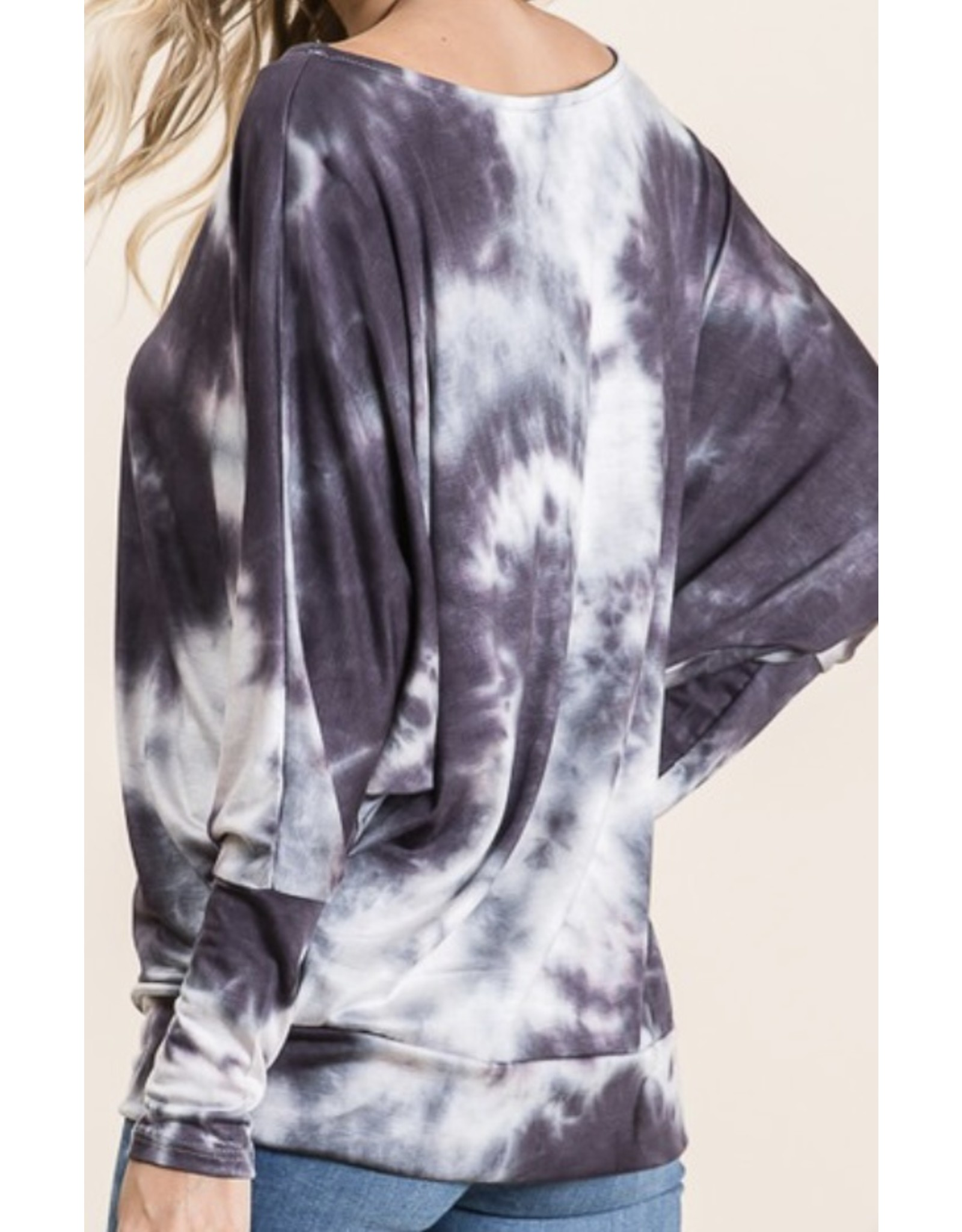 LATA Off Shoulder Black Tie Dye