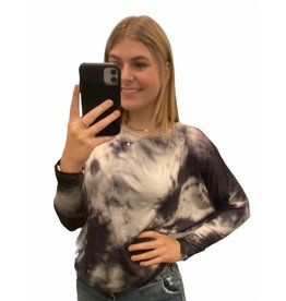 LATA Here To Stay Off Shoulder Black Tie Dye Top