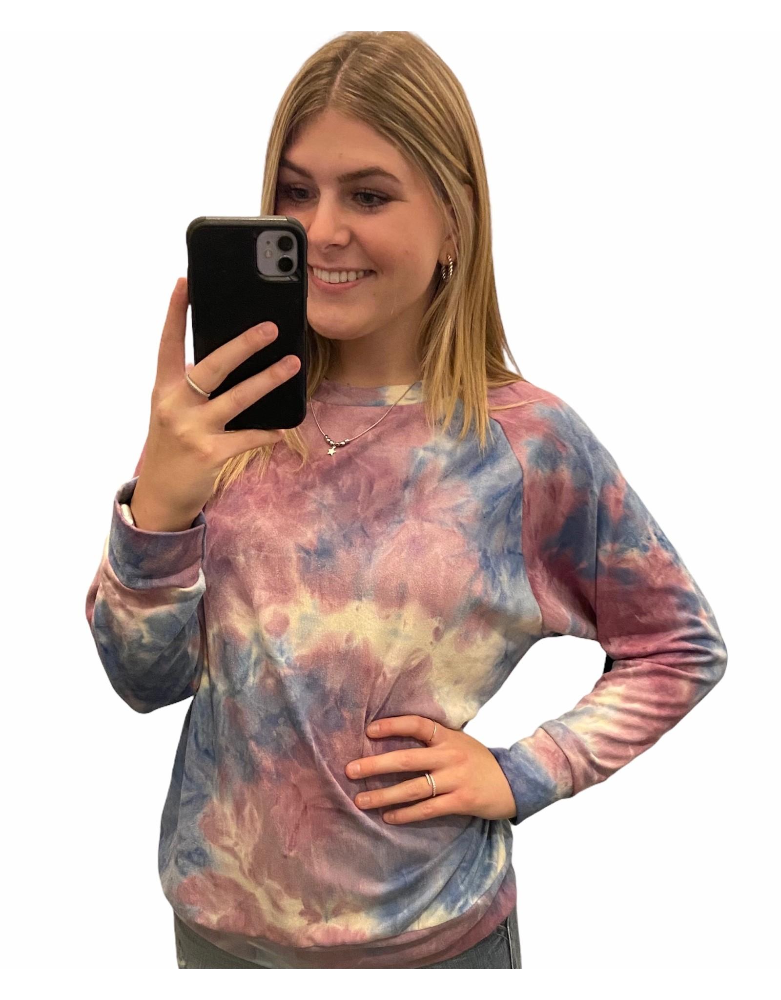 LATA Pink Berry Tie Dye Sweatshirt