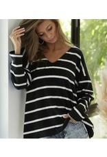 LATA Double Take Brushed Stripe V-Neck Sweater
