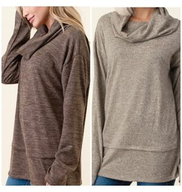 LATA Just In Case Cowl Neck Top