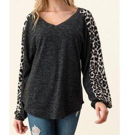 LATA Cheetah Love V-Neck Top