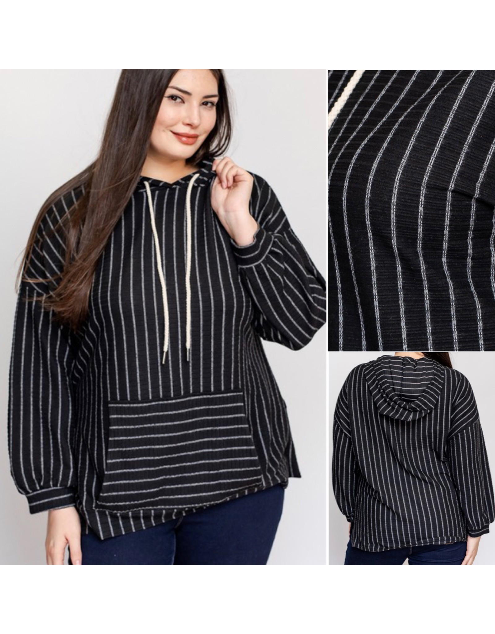 LATA Ready To Go Striped Hoodie