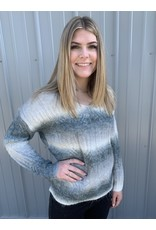 LATA Shades of Ombre V-Neck Sweater