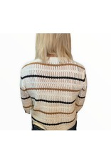 LATA Light As A Feather Stripe Cropped Sweater