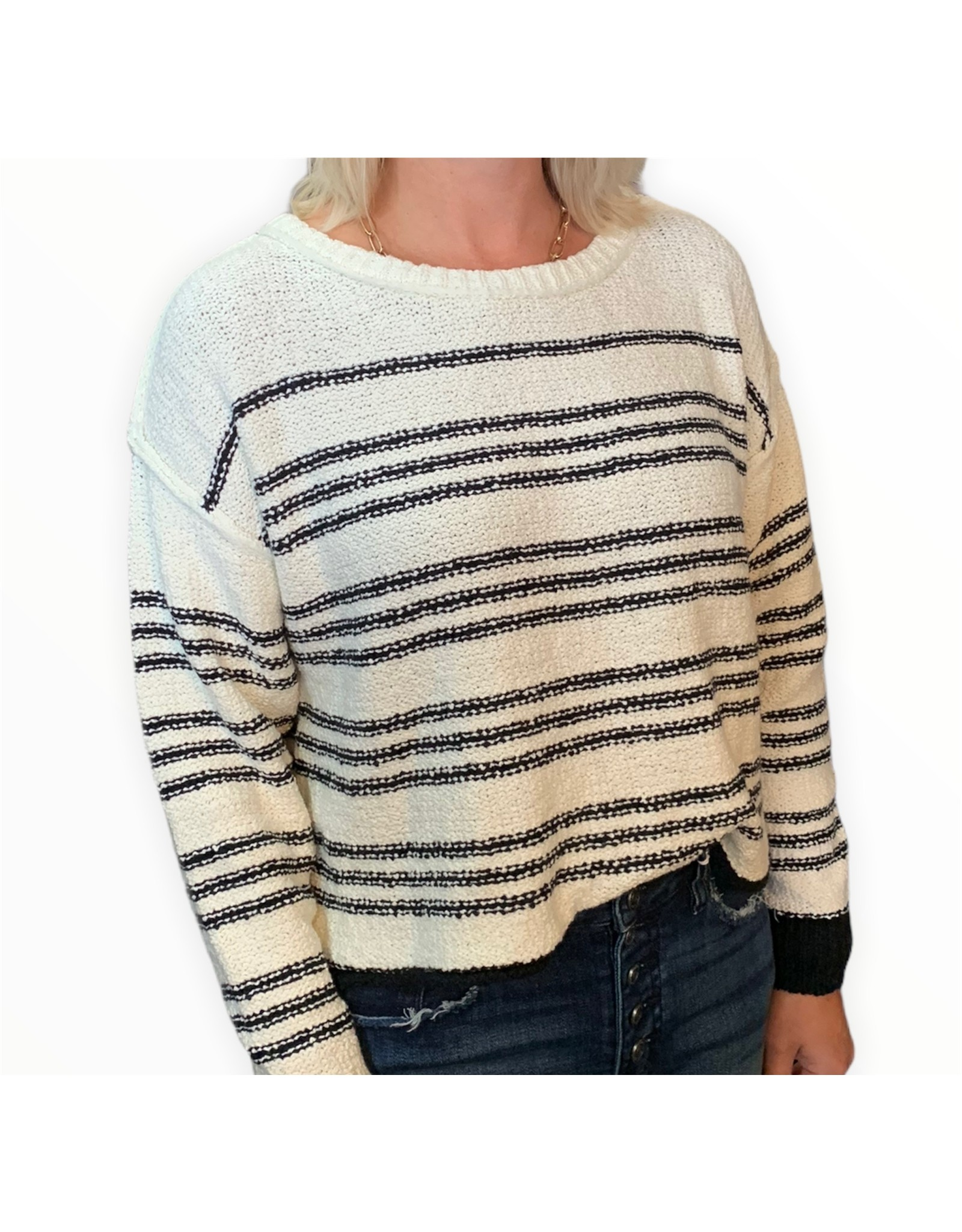 LATA Racing Stripe Cropped Sweater