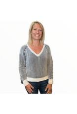 LATA Gotta Love It Cropped Contrasting Sweater