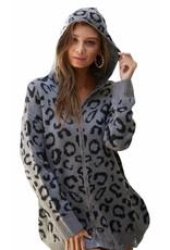 LATA Dare to Dream Leopard Zip Up Sweater Jacket
