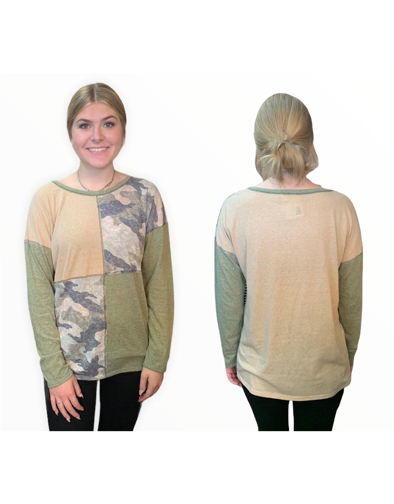 LATA Patchwork Camo Jersey Knit