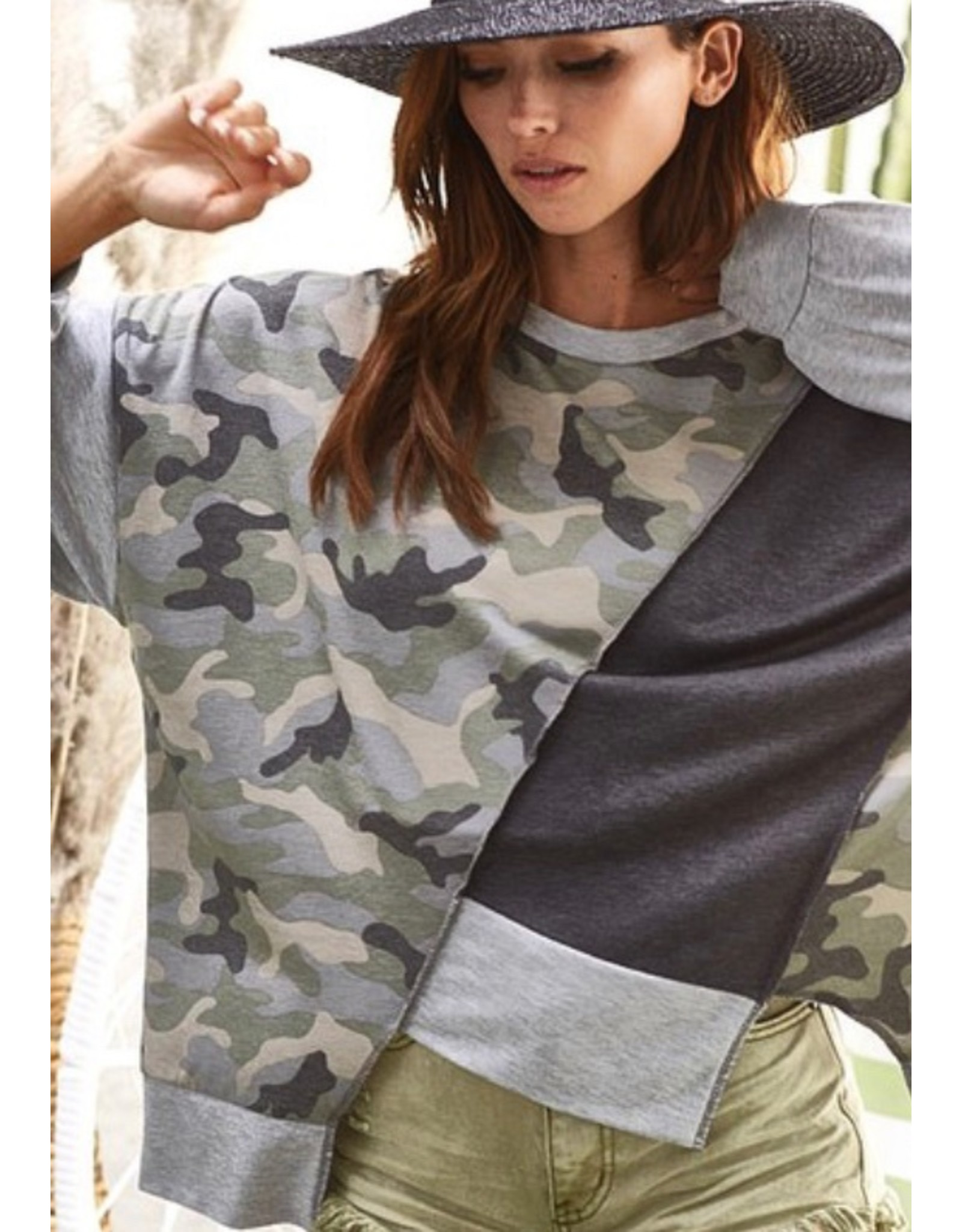 LATA Uneven Lines Color Block French Terry w/ Camo