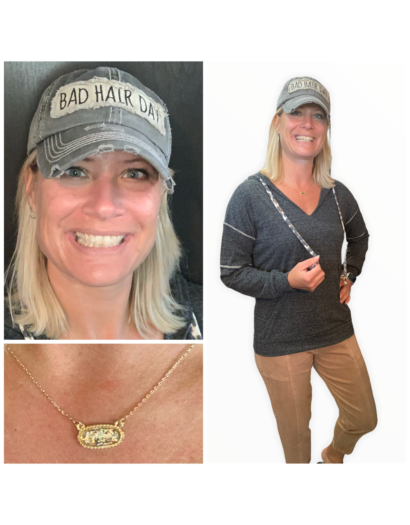 LATA Happy Times Leopard Strap Hoodie Top