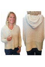 LATA Captivating Textured Sweater  w/ Hood