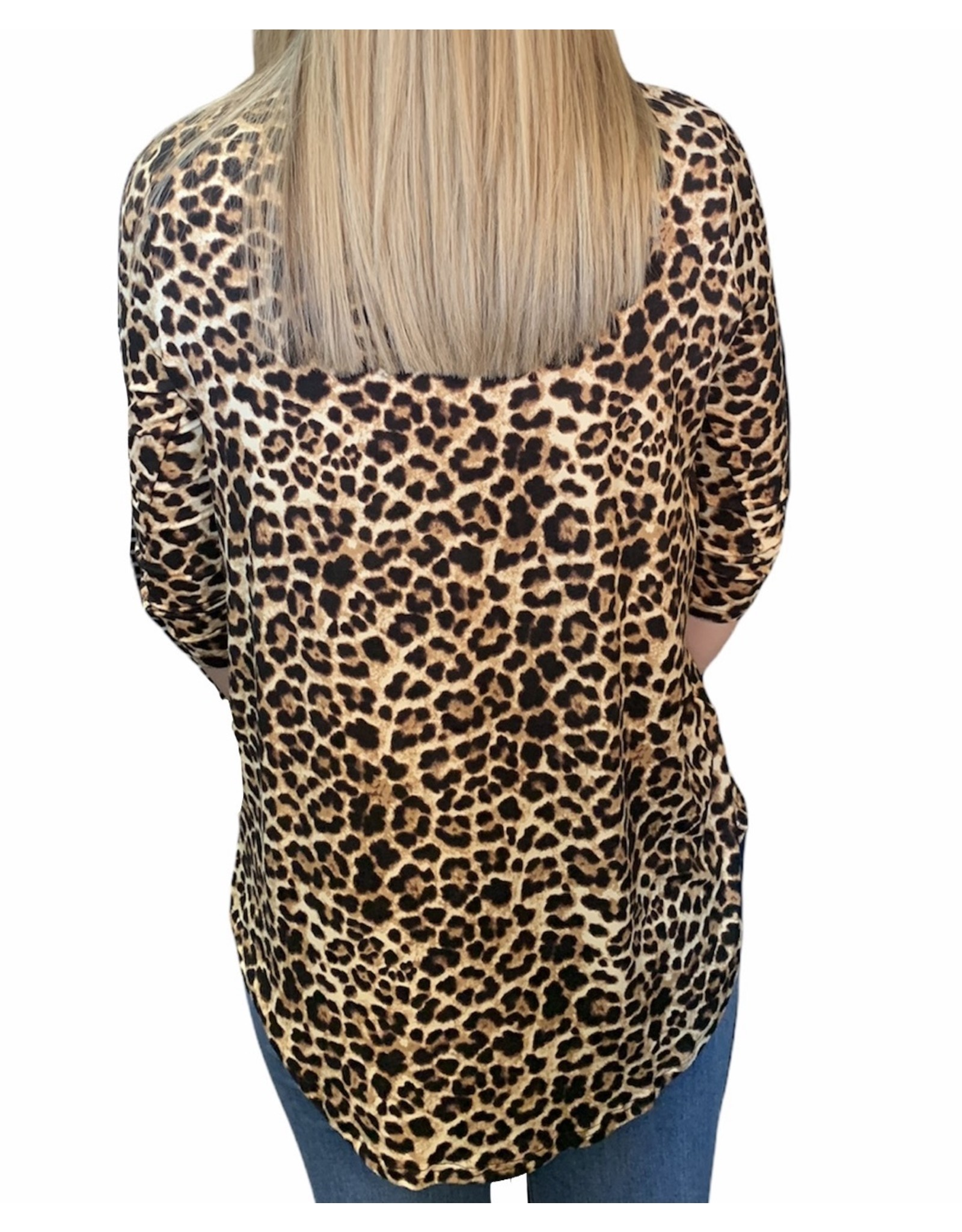 LATA Cheetah Love 3/4 Sleeve V-Neck