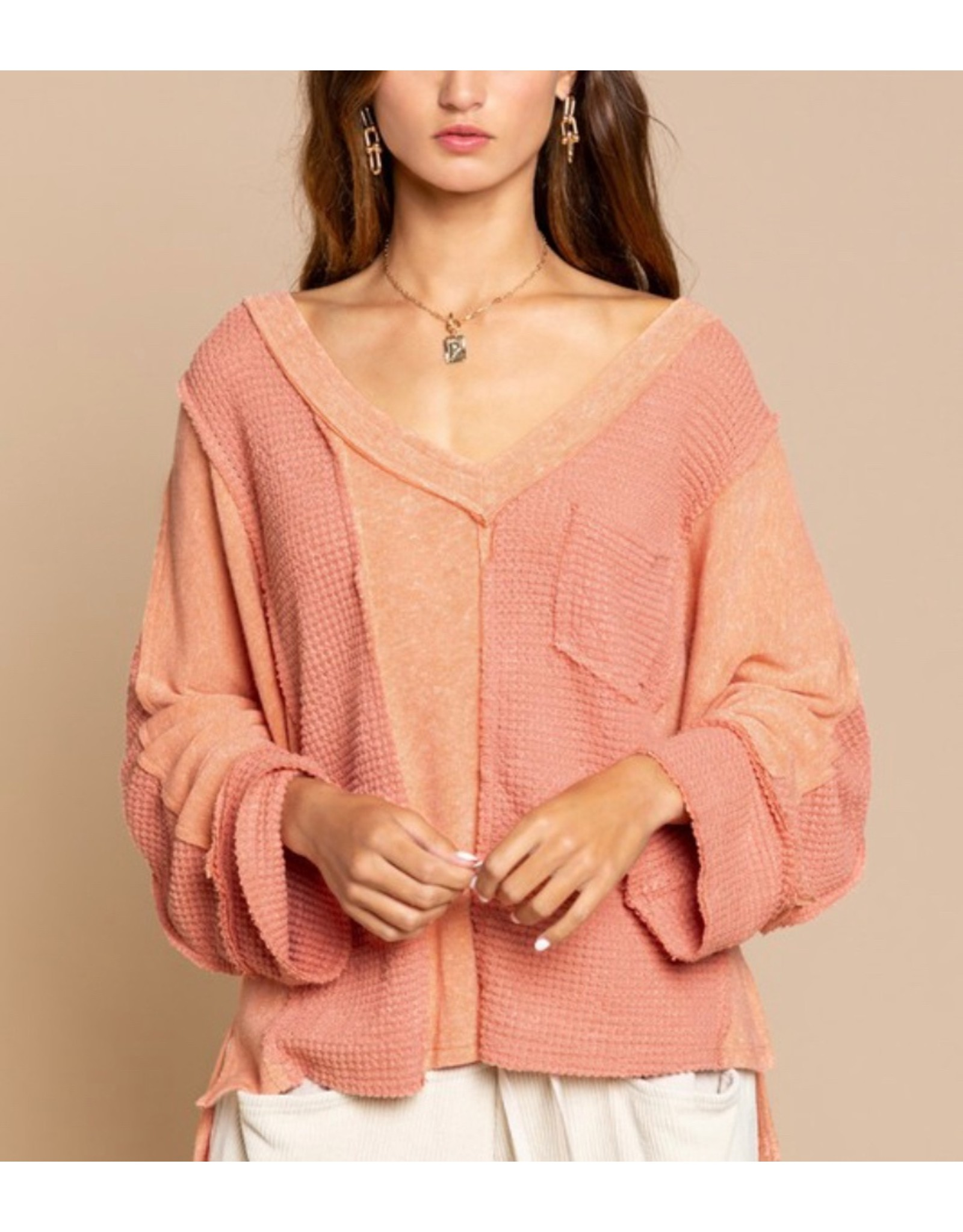 LATA Coral Reef Textured V-Neck Top
