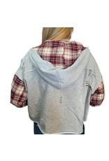 LATA Makin' Me Crazy Plaid Detail Hoodie Jacket