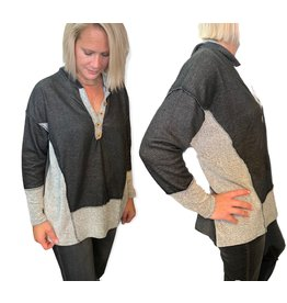 LATA Looped In French Terry Hoodie w/ Button Detail