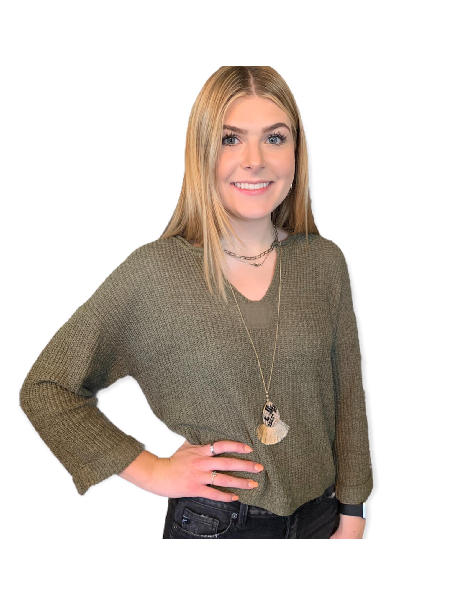 LATA Sweater Weather Olive Sweater