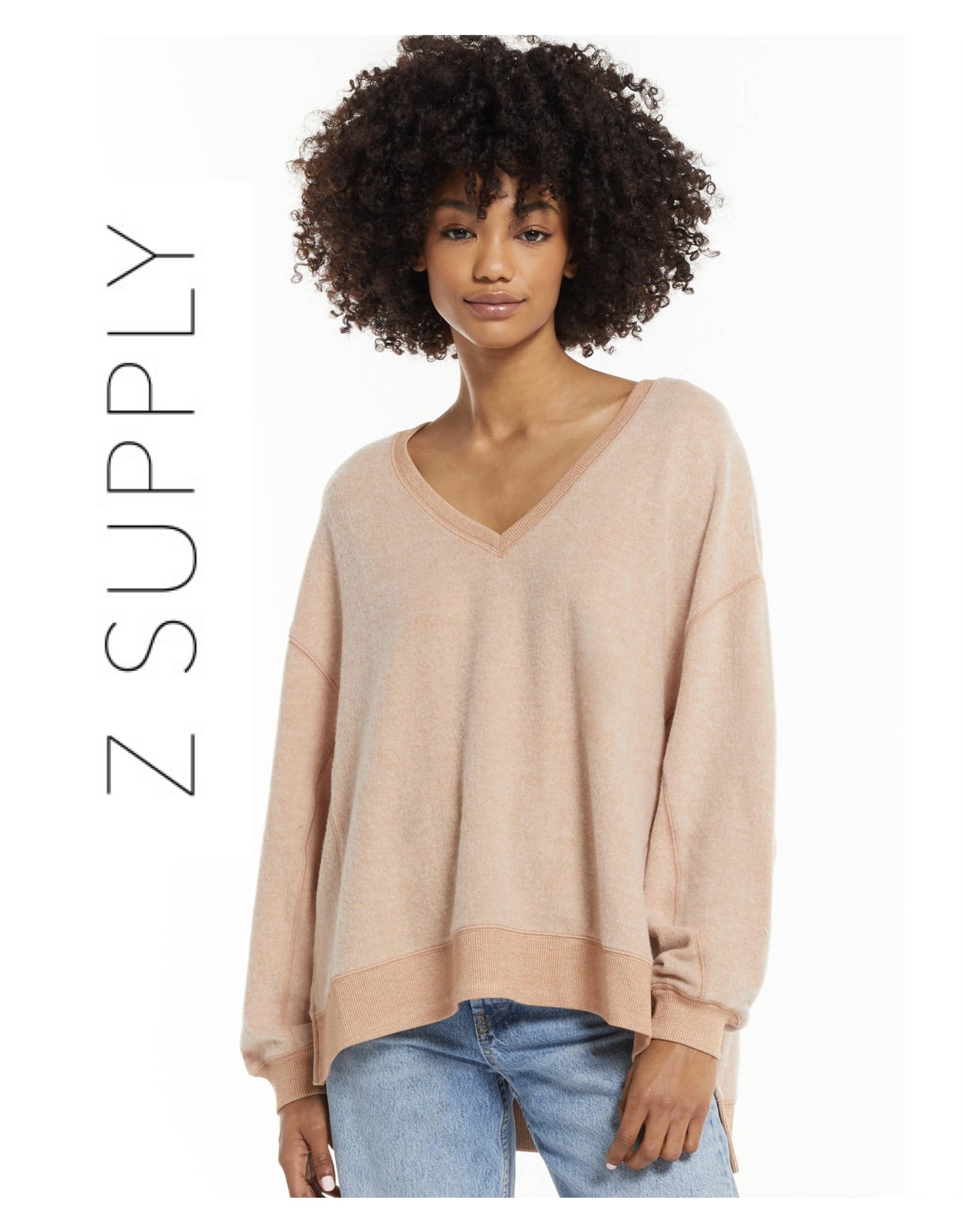 Z Supply Z Supply Cozy V-Neck Modern Weekender- Dusty Amber