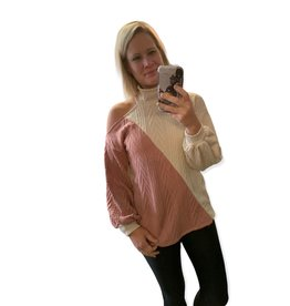 LATA Two Tone Open Shoulder Sweater