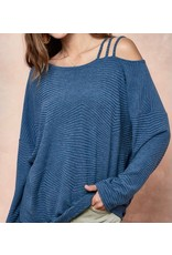 LATA Strapped In Jacquard Knit One Shoulder Top