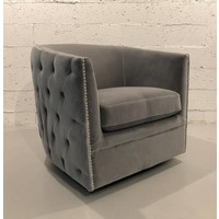 Reagan Grey Velvet Swivel Chair