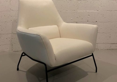 Allisa White Leather Accent Chair