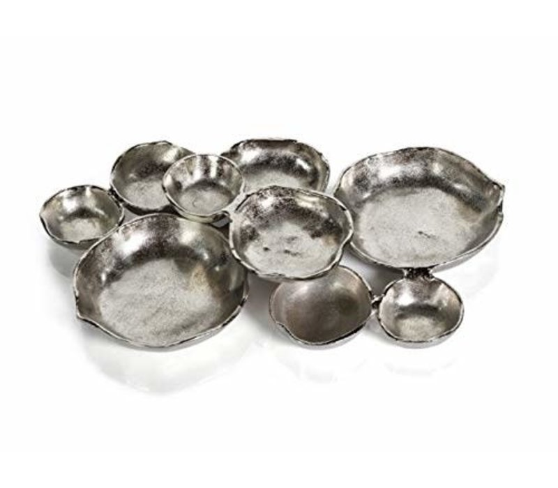 Cluster of Nine Serving Bowls - Nickel