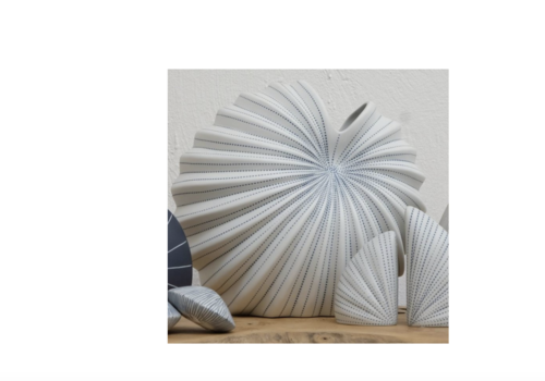 Palm Blue & White Medium Vase