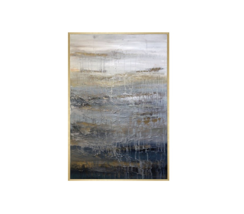 "SIMMER FRAMED CANVAS  74'H X 49""W"