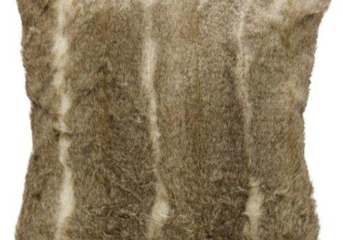 Aztec Taupe Faux Fur Square Pillow