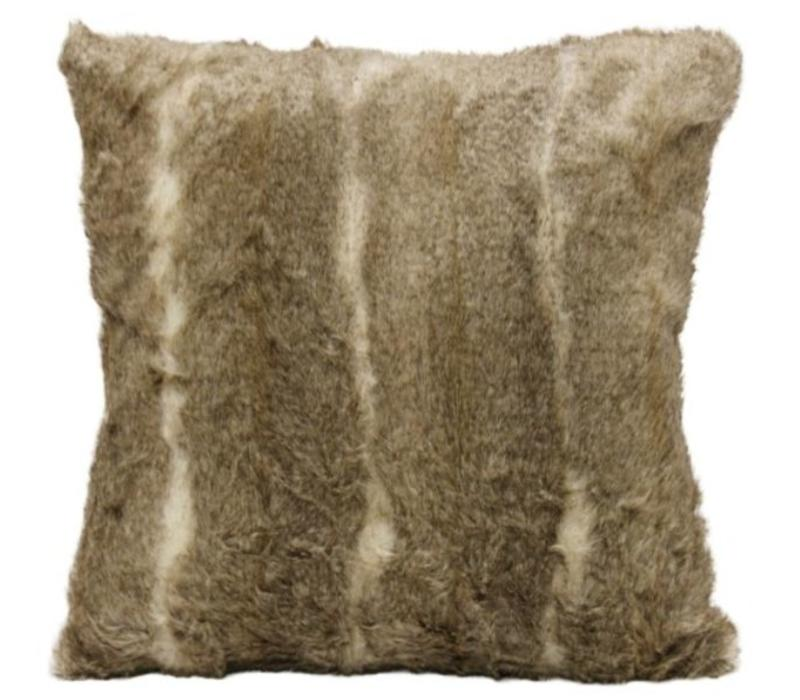Aztec Taupe Faux Fur Square Pillow