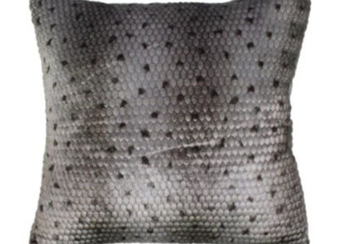 Ponca Gray Faux Fur Pillow