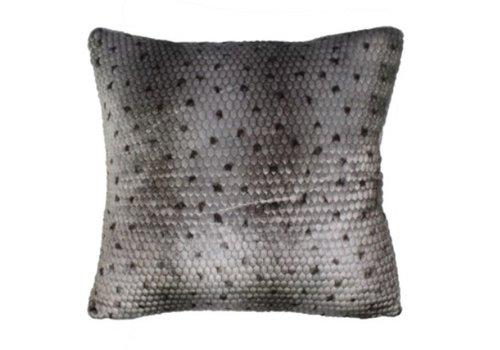 Ponca Gray Faux Fur Pillow