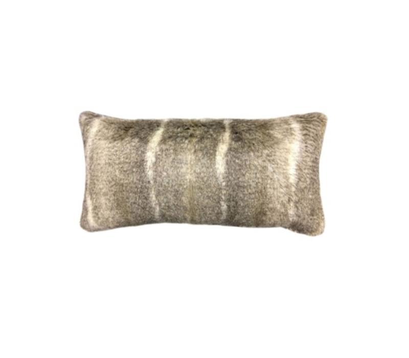 Aztec Taupe Faux Fur Bolster Pillow