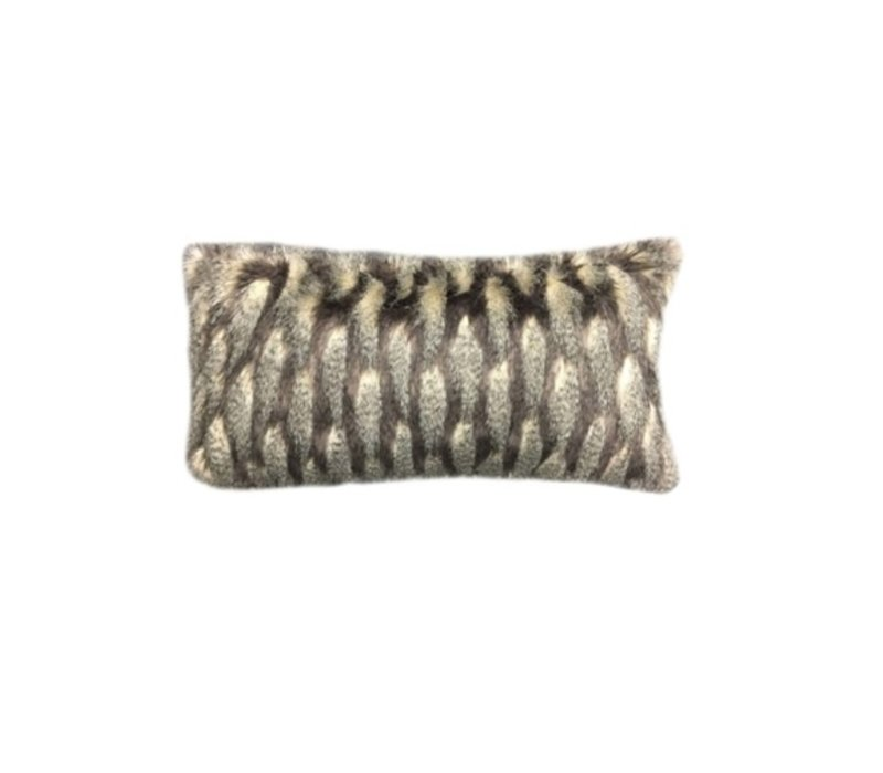 Montauk Black & Taupe Faux Fur Bolster Pillow