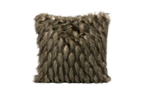 Montauk Black & Taupe Faux Fur Square Pillow