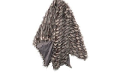 Montauk Black & Taupe Faux Fur Throw