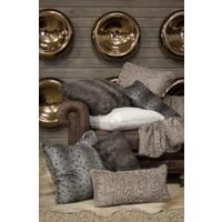 Ponca Gray Faux Fur Bolster Pillow