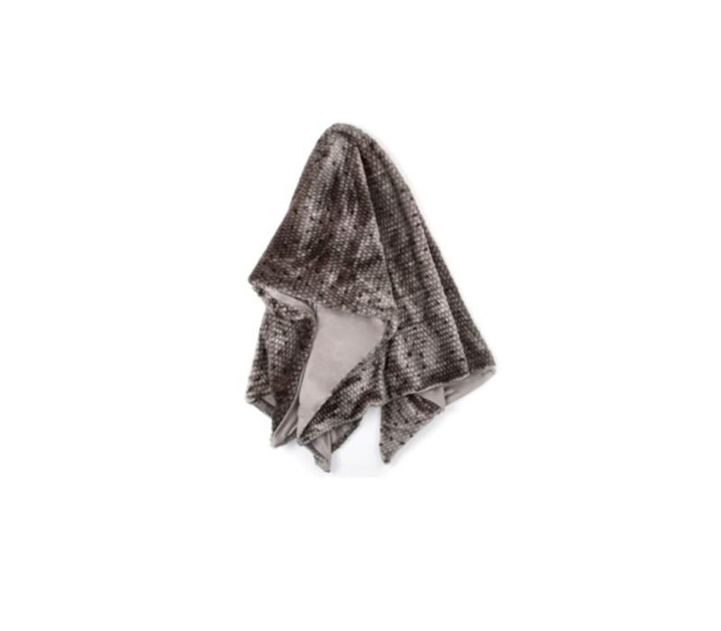 Ponca Gray Faux Fur Throw