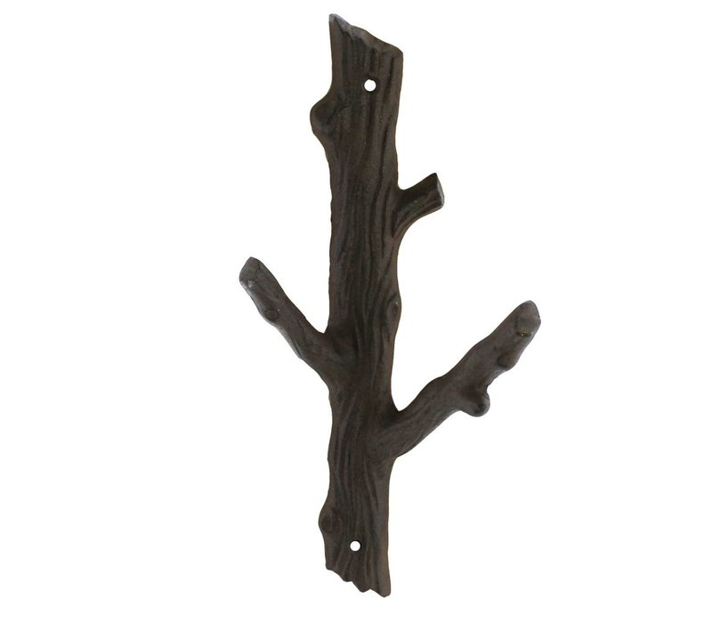 Tree branch cast iron wall hook