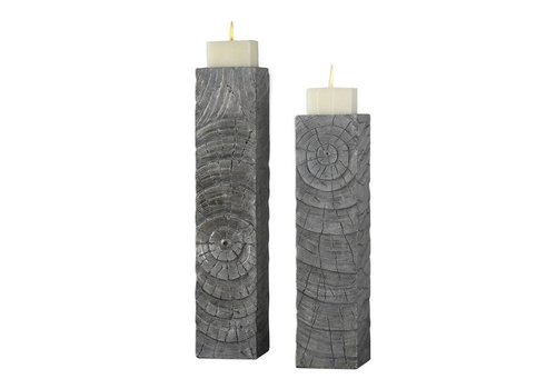 Odion Silver Wood Log Candleholder S/2
